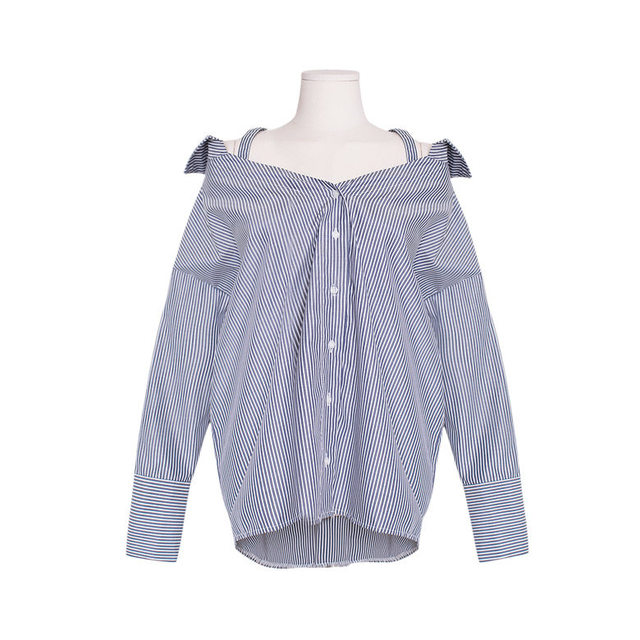 Striped collar off shoulder shirt blouse