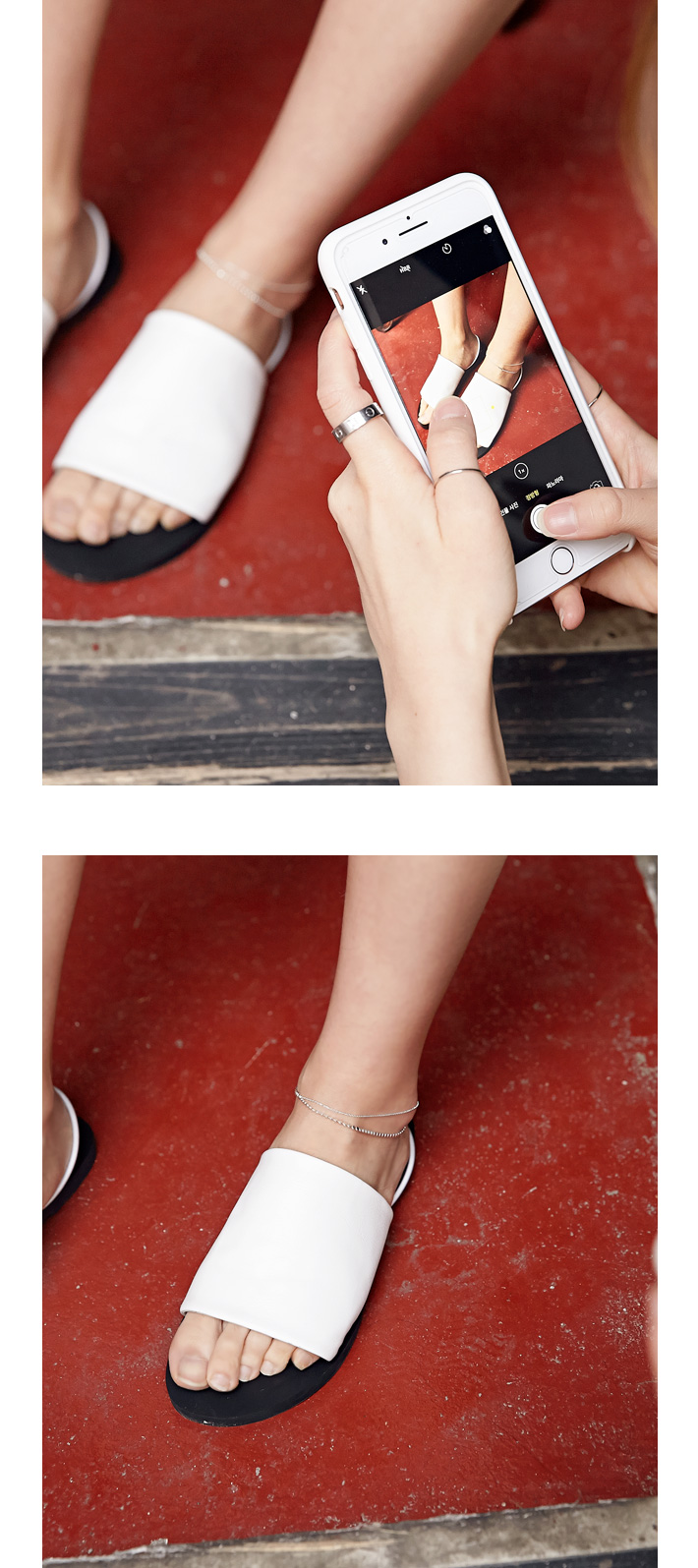 Layer silver anklet_K (size : one)