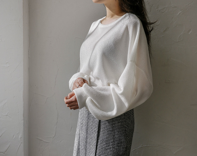 Knit puff sleeves