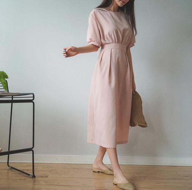 Cool button linen dress