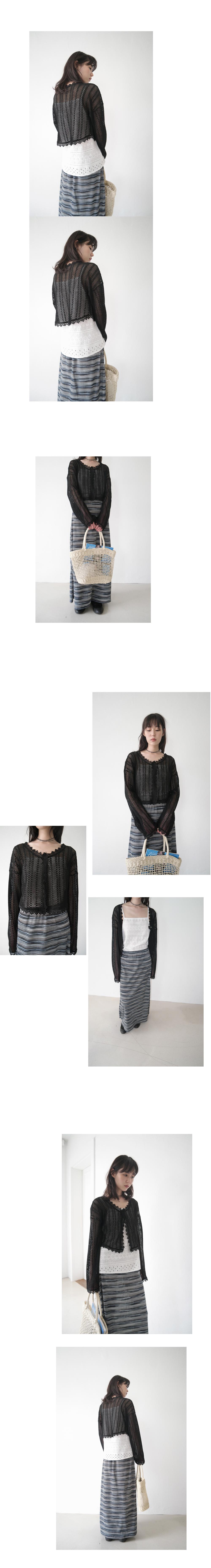exotic stripe knit set - top (2colors)