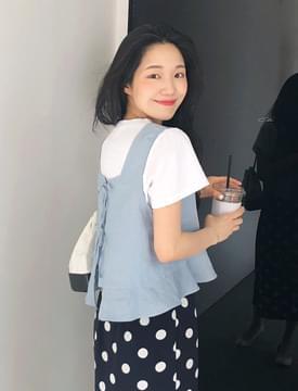 Back ribbon sleeveless top_M (size : free)