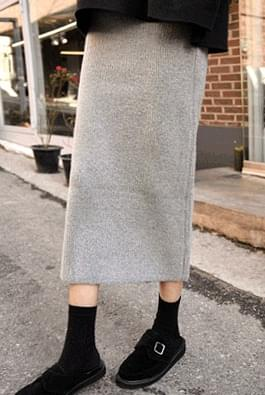 Knit long bending skirt