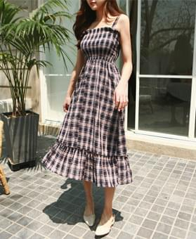 Check smoked long dress