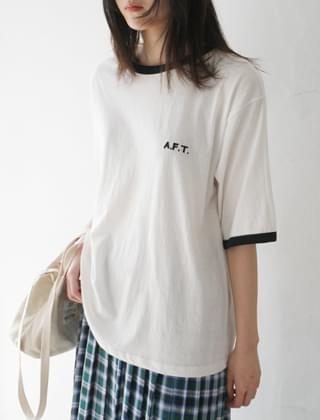 embroidery color point tee (3colors)