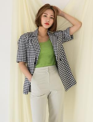 short sleeves gingham check jacket