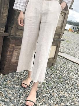 Wide Pure Linen Cutting Pants ㅣ 2COLOR Beige Black Clay Drop Tangara