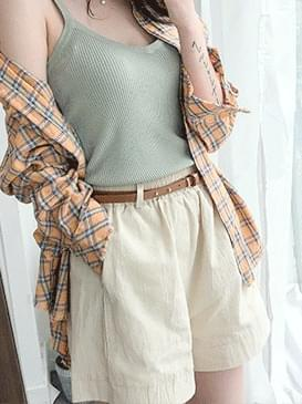 Jane linen half pants ㅣ 3COLOR eye beige black dough drop off shoulder dangaraklop banhai