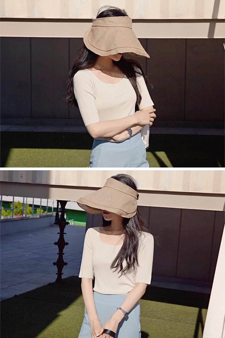 Linen wide sun cap_H
