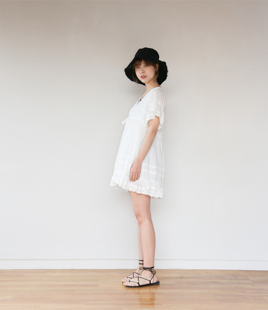 Fringe cotton bucket hat_H (size : one)