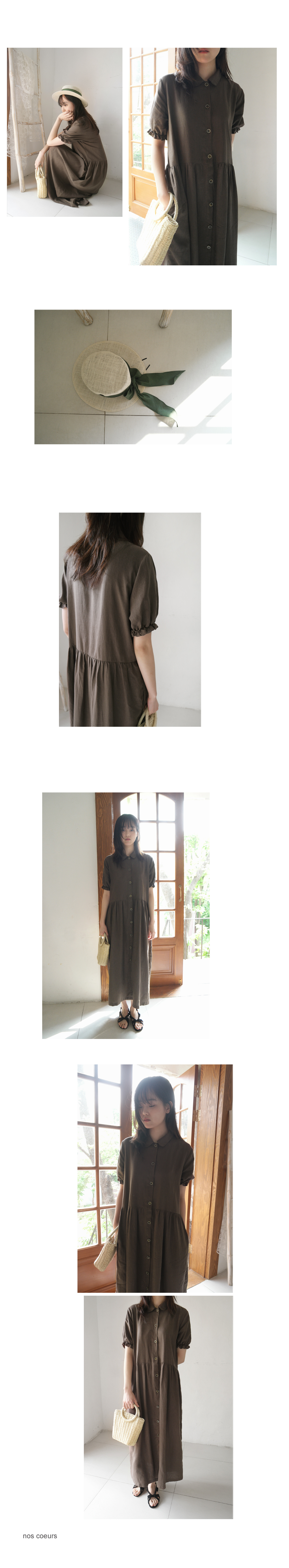 frill sleeve maxi one-piece (3colors)