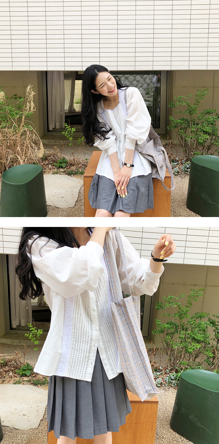 Natural check cotton bag_K (size : one)
