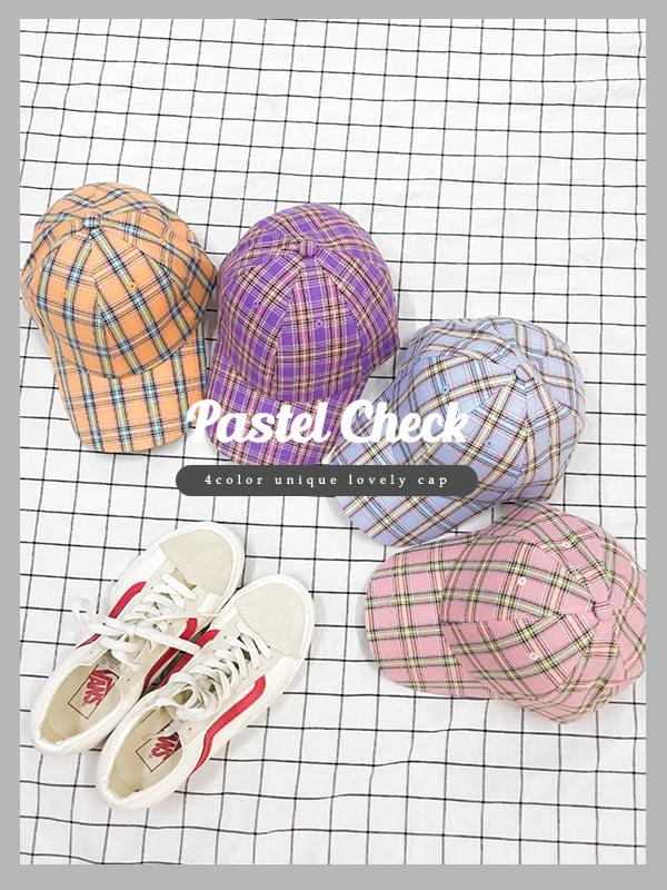 Pastel check ball cap