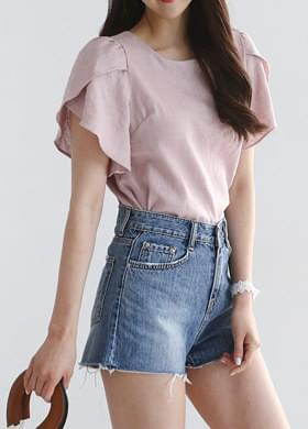 Linen frill short sleeve blouse