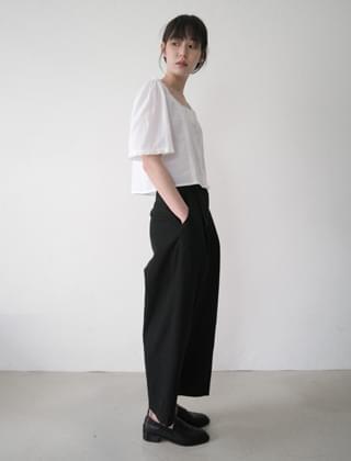 wide crop plain pants (2colors)