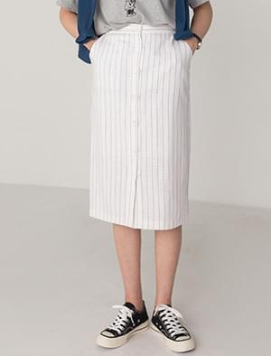 linen stripe banding skirt