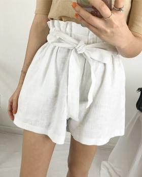 Banding Ribbon String Linen Short Pants