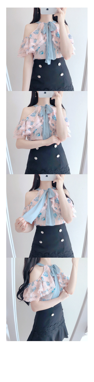 10% off Statue ♥ romantic off shoulder bl (blu, white, pink)