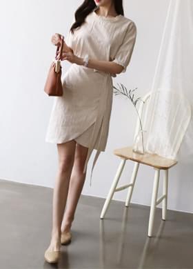 A guest linen wrap dress