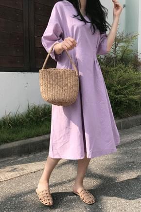 Pinto V Linen Long Dress
