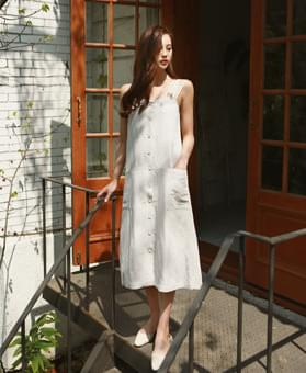 Shoulder strap linen dress