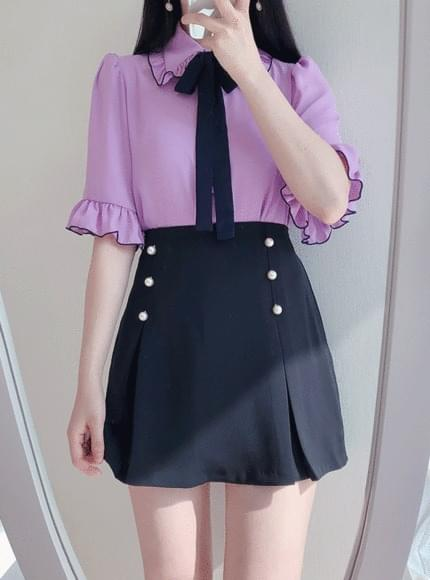 10% off the picture ♥ pearl wrinkle mini sk (black)