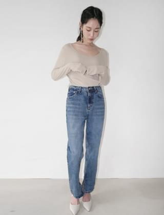 side slit tapered denim pants (2colors)