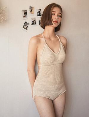 halterneck knit monokini