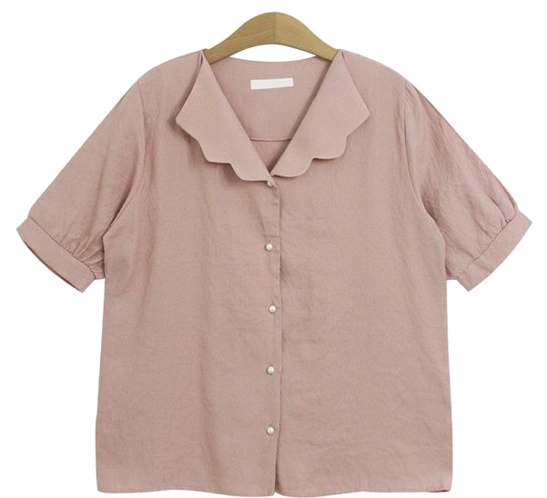 Coed blouse (wave pearl short sleeve shirt collar st)