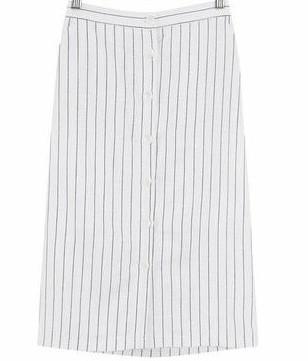 Striped button linen skirt