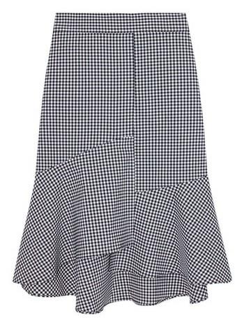 Emily Gingham Check Bending Midi Mermaid Skirt