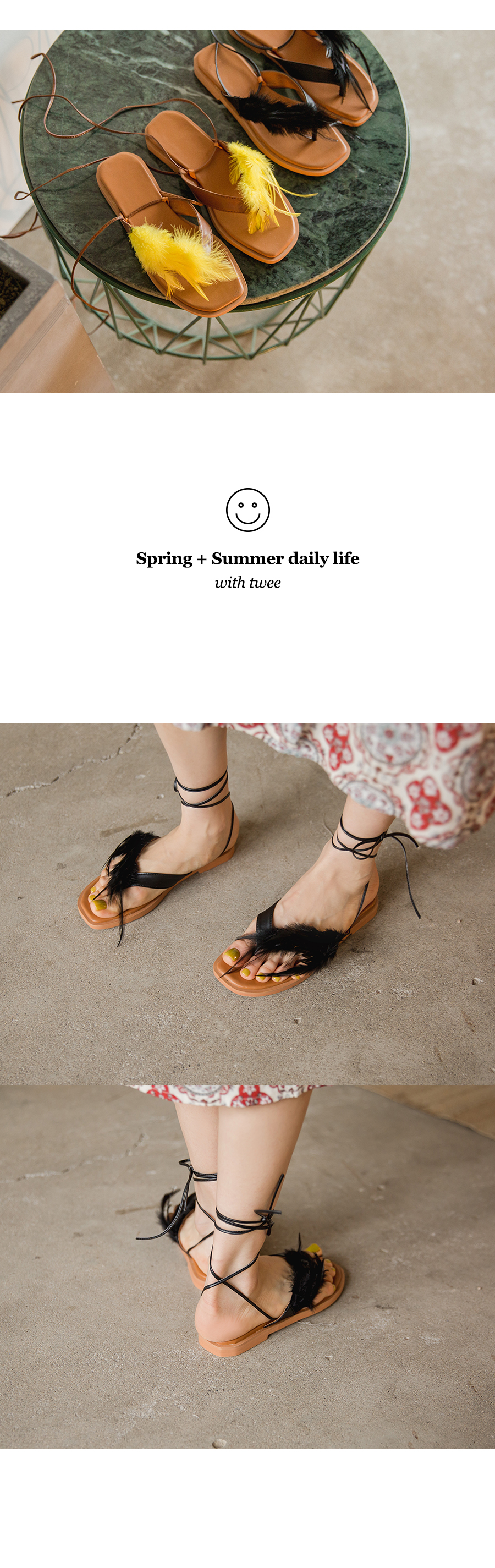 Feather lace-up sandals