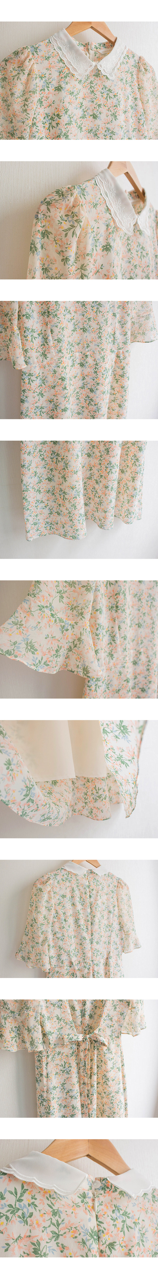 Sweet Race Color Flower Ruffle Dress