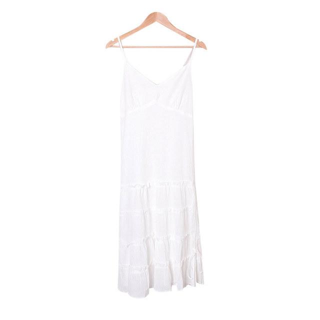 Day Shirring Frilly Sleeveless Long Dress