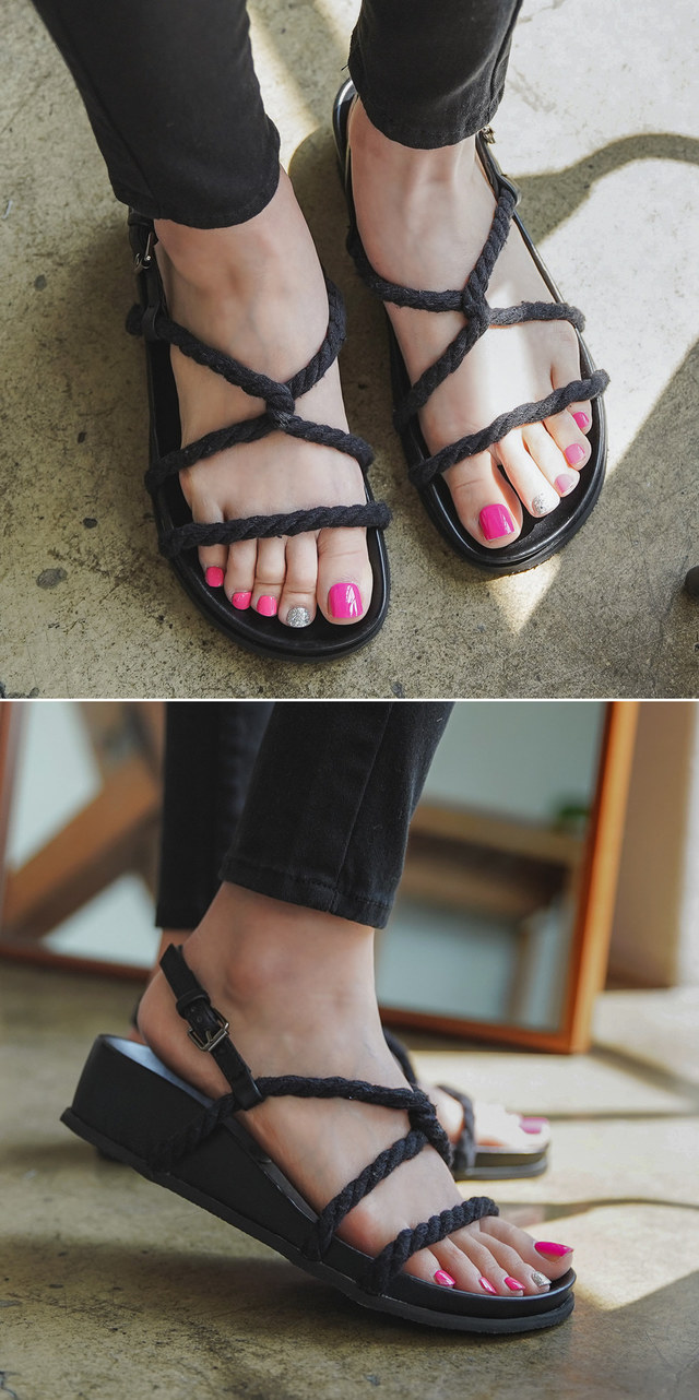 Cross-twist sandals
