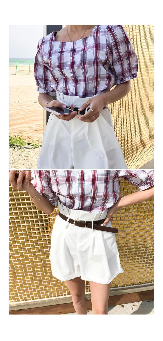 Square Picnic Check Blouse ㅣ 2COLOR Wine Black Bralet Off Shoulder Ribbon Crop A-line visitor