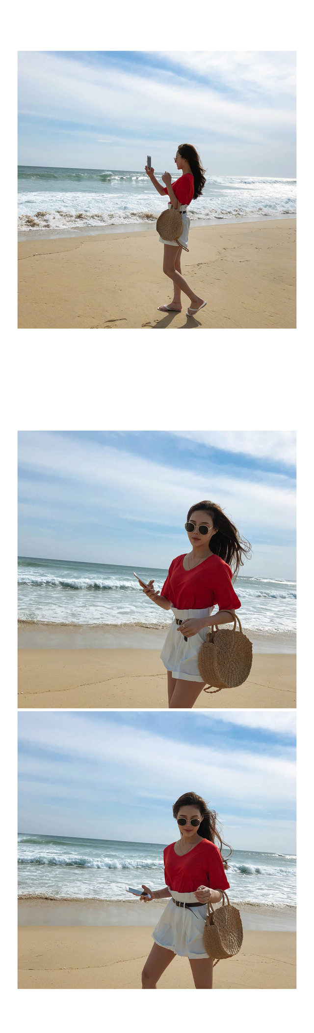 Lauren Sunglasses ㅣ 2COLOR Eye Beige Black Cloth Drop Off Shoulder Crop Blank