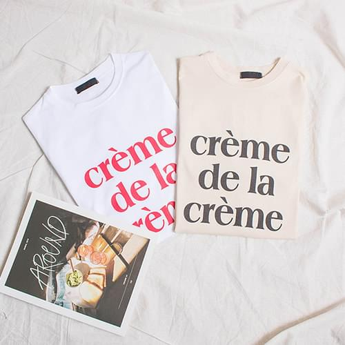 Creme Lettering Round T-Shirt