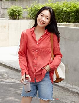 Tropical color gauze shirts_K (size : free)