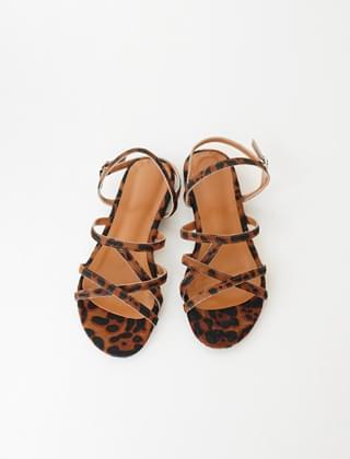 leopard calf skin strap sandals