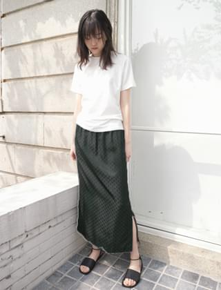 artificial silk slit skirt (2colors)