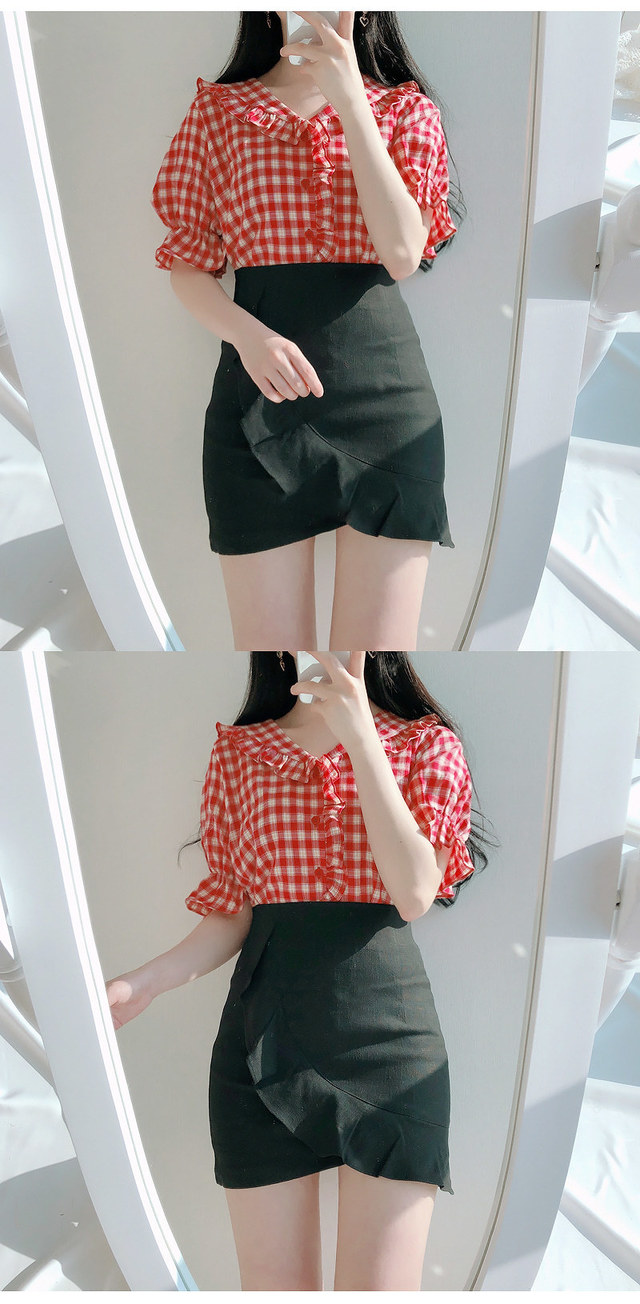 10% off the prize ♥ Red Check Frill bl