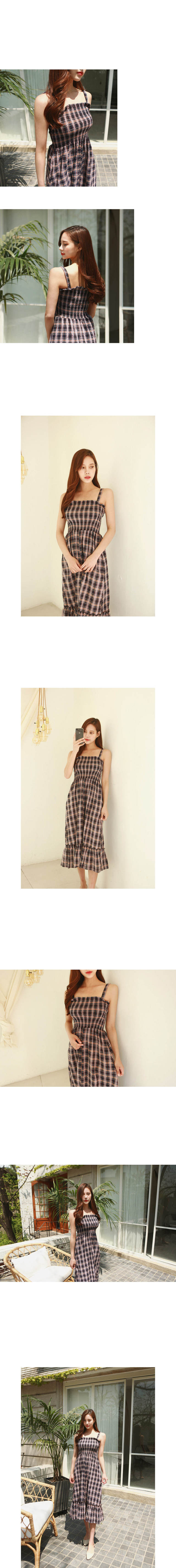 Check smoked long dress