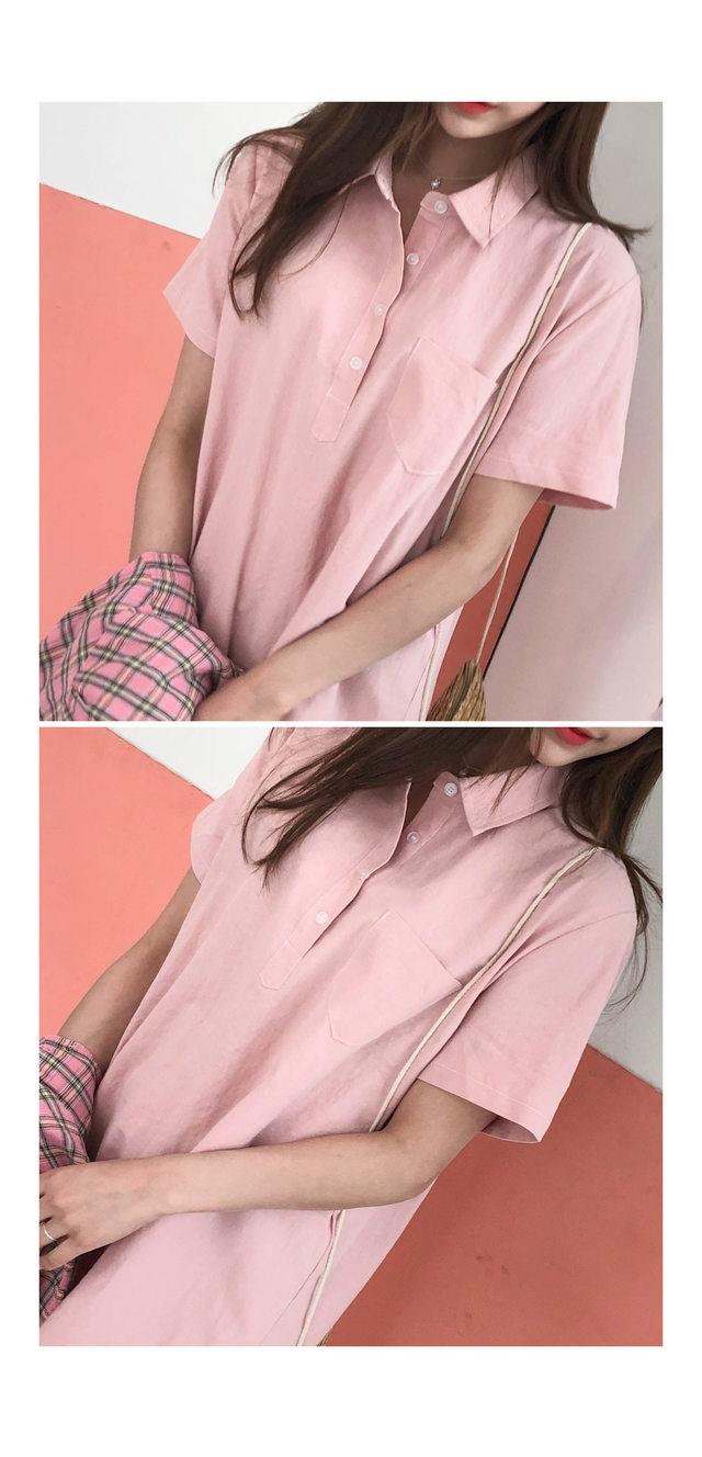 Mono Shirt Dress ㅣ 3COLOR Beige Yellow Pink Black Crop Customers
