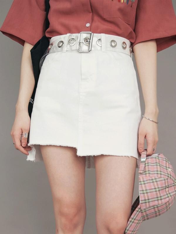 Step slit denim skirt (sk1193)