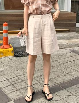 Linen pin-tuck half pants_S (size : S,M)