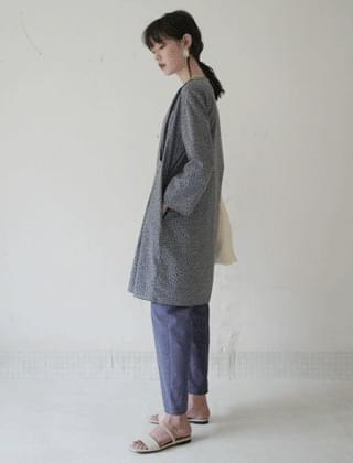 high-waist washed cotton pants (midnight blue)