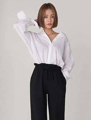 v-neck ribbon sleeve loose shirts