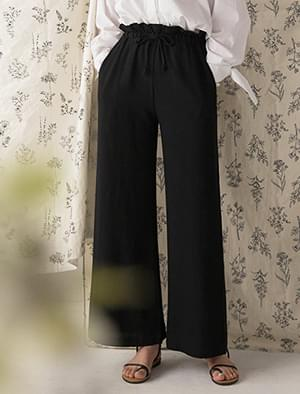 shirring banding wide linen pants
