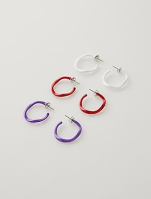color wave ring earring